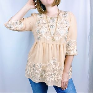 Anthropologie One September Embroidered Blouse